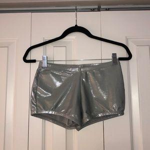 Silver spandex shorts